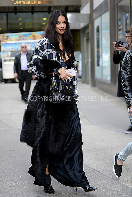 www.acepixs.com<br /> November 1, 2016  New York City<br /> <br /> Adriana Lima arriving to a fitting at Victoria's Secret in Midtown on November 1, 2016 in New York City.<br /> <br /> <br /> Credit: Kristin Callahan/ACE Pictures<br /> <br /> <br /> Tel: 646 769 0430<br /> Email: info@acepixs.com