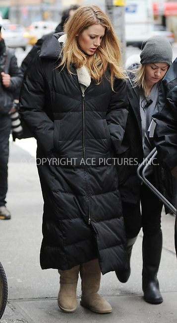 WWW.ACEPIXS.COM . . . . . ....February 24 2010, New York City....Actress Blake Lively on the midtown Manhattan set of the TV show 'Gossip Girl' on February 24 2010 in New York City....Please byline: KRISTIN CALLAHAN - ACEPIXS.COM.. . . . . . ..Ace Pictures, Inc:  ..tel: (212) 243 8787 or (646) 769 0430..e-mail: info@acepixs.com..web: http://www.acepixs.com