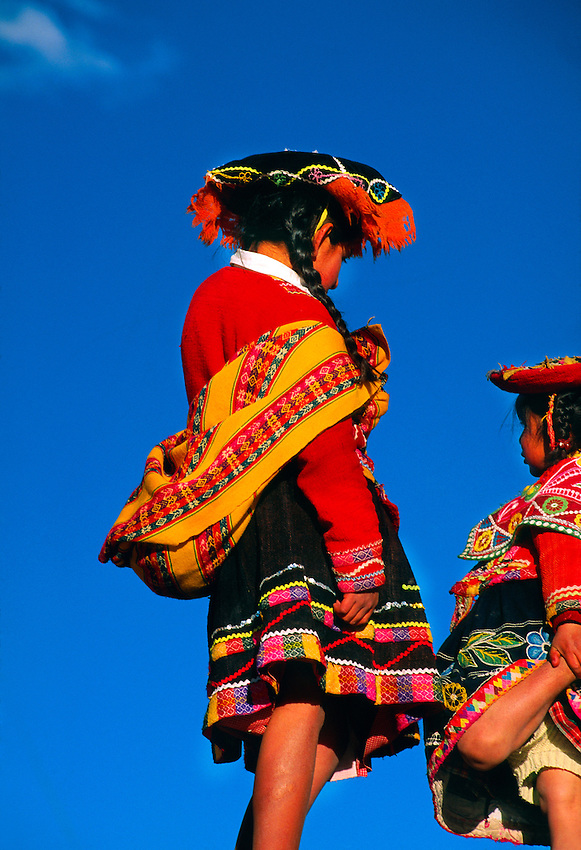 Indian girls in native costume, Plaza de Armas, Cuzco, Peru