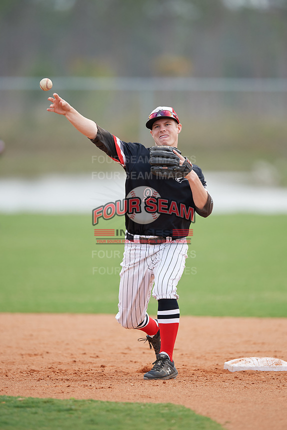 Edgewood Eagles Ryan Fields (9) during practice before a game against the Babson Beavers on March 18, 2019 at Lee County Player Development Complex in Fort Myers, Florida.  Babson defeated Edgewood 23-7.  (Mike Janes/Four Seam Images)