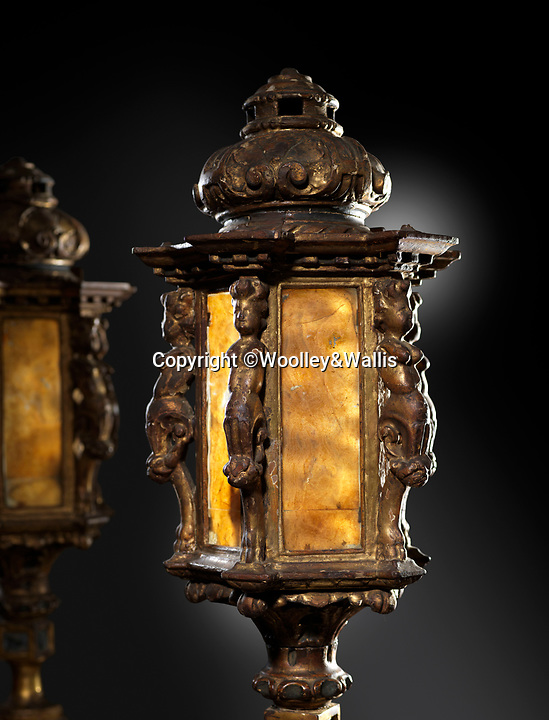 BNPS.co.uk (01202 558833)<br /> Pic: Woolley&Wallis/BNPS<br /> <br /> Pre-Raphael-lights....Venetian lanterns from the heart of a Victorian scandal.<br /> <br /> If these lamps could talk...they may well shed light on salacious scandal that rocked Victorian society.<br /> <br /> The pair of Venetian giltwood and glass lanterns belonged to the pre-Raphaelite painter, Sir John Everett Millais, but are thought to have been acquired by his wife and muse Effie Gray whilst she was touring Venice with her former husband, the famous art critic  John Ruskin. <br /> <br /> Millais was a founder member of the pre-Raphaelite movement, strongly championed by Ruskin, who married Effie Gray in 1848.<br /> <br /> In 1849 the newlyweds spent a significant time in Venice, where it seems likely that the lamps were acquired by Effie. <br /> <br /> However the marriage was famously an unhappy one and Effie grew increasingly close to Millais, causing a public scandal when she eventually left Ruskin for the painter – claiming that her marriage had never been consummated. <br /> <br /> The infamous Victorian love triangle was the inspiration for several later plays and films and remains at the forefront of public consciousness today. The couple went on to have eight children, and the lamps have remained with the family until the present day.<br /> <br /> Woolley & Wallis are selling the laterns in Salisbury this week with a £1500 estimate.