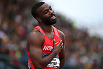 EUGENE, OR - JUNE 8: Cameron Burrell of the Houston Cougars races to victory in the 100 meter dash during the Division I Men's Outdoor Track & Field Championship held at Hayward Field on June 8, 2018 in Eugene, Oregon. (Photo by Jamie Schwaberow/NCAA Photos via Getty Images)