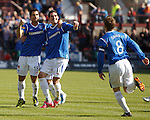 Carlos Bocanegra and Kyle Lafferty celebrate the opening goal for Rangers