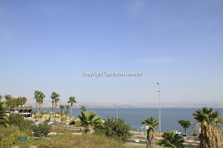 Israel, Galilee, a view of the Sea of Galilee from Hamat Tiberias