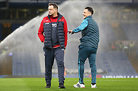 Swansea City goalkeeper coach Tony Roberts laughs with Roque Mesa as they inspect Stamford Bridge prior to kick off of the Premier League match between Chelsea and Swansea City at Stamford Bridge, London, England, UK. Wednesday 29 November 2017