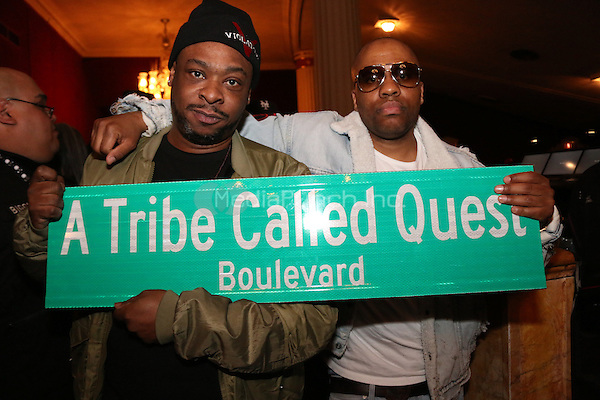 NEW YORK, NY - APRIL 5, 2016 Jarobi & Consequence attend the funeral of Phife Dawg of A Tribe Called Quest at The Apollo Theater, April 5, 2016 in New York City. Photo Credit: Jamel Johnson / Media Punch