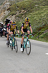 Laurens De Plus (BEL) and Steven Kruijswijk (NED) Team Jumbo-Visma and Geraint Thomas (WAL) Team Ineos climb the Col d'Iseran during Stage 19 of the 2019 Tour de France originally running 126.5km from Saint-Jean-de-Maurienne to Tignes but cut short to 88.5 km, France. 26th July 2019.<br /> Picture: John Pierce/PhotoSport Int | Cyclefile<br /> All photos usage must carry mandatory copyright credit (© Cyclefile | John Pierce/PhotoSport Int)