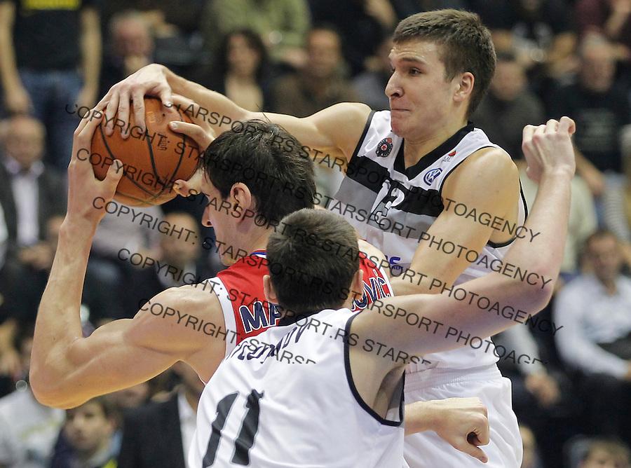 Kosarka ABA League season 2013-2014<br /> Partizan Vs. Crvena Zvezda<br /> Boban Marjanovic (C) Bogdan Bogdanovic (R)<br /> Beograd, 18.11.2013.<br /> foto: Srdjan Stevanovic/Starsportphoto &copy;