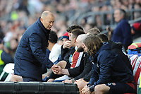 England Head Coach Eddie Jones thanks Joe Marler of England towards the end of the Guinness Six Nations match between England and Ireland at Twickenham Stadium on Sunday 23rd February 2020 (Photo by Rob Munro/Stewart Communications)