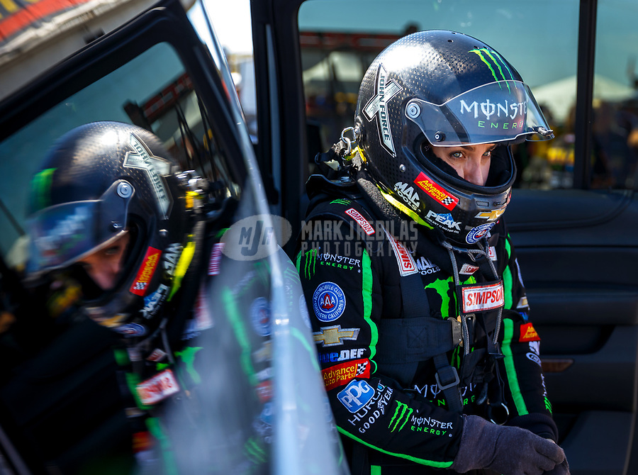 Sep 30, 2017; Madison , IL, USA; NHRA top fuel driver Brittany Force during qualifying for the Midwest Nationals at Gateway Motorsports Park. Mandatory Credit: Mark J. Rebilas-USA TODAY Sports
