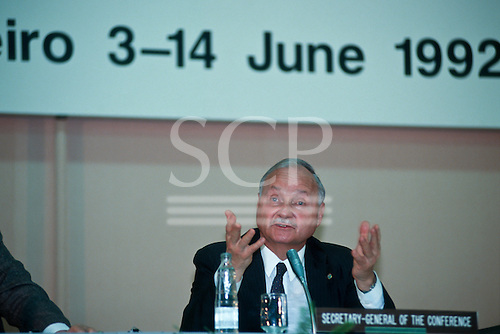 United Nations Conference on Environment and Development, Rio de Janeiro, Brazil, 3rd to 14th June 1992. Secretary General of the Conference Maurice Strong.