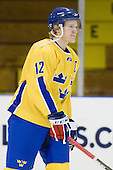 Gabriel Landeskog (Sweden - 12) - The Merrimack College Warriors defeated the visiting Sweden Under 20 team 4-1 on Tuesday, November 2, 2010, at Lawler Arena in North Andover, Massachusetts.