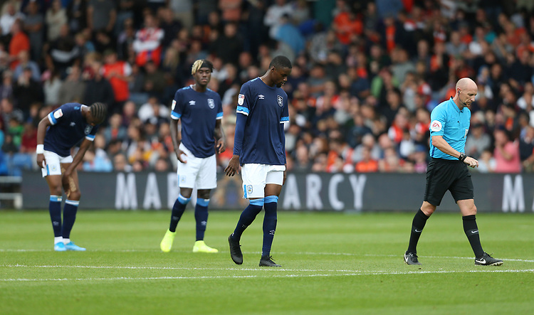 Dejection for Huddersfield <br /> <br /> Photographer Rob Newell/CameraSport<br /> <br /> The EFL Sky Bet Championship - Luton Town v Huddersfield Town - Saturday 31 August 2019 - Kenilworth Stadium - Luton<br /> <br /> World Copyright © 2019 CameraSport. All rights reserved. 43 Linden Ave. Countesthorpe. Leicester. England. LE8 5PG - Tel: +44 (0) 116 277 4147 - admin@camerasport.com - www.camerasport.com