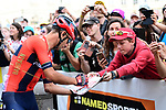 Vincenzo Nibali (ITA) Bahrain-Merida at sign on before the start of Stage 1 of the 2019 Tour de France running 194.5km from Brussels to Brussels, Belgium. 6th July 2019.<br /> Picture: ASO/Alex Broadway | Cyclefile<br /> All photos usage must carry mandatory copyright credit (© Cyclefile | ASO/Alex Broadway)