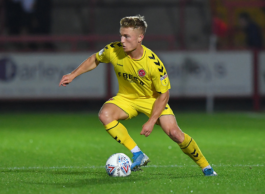 Fleetwood Town's Kyle Dempsey in action<br /> <br /> Photographer Dave Howarth/CameraSport<br /> <br /> EFL Leasing.com Trophy - Northern Section - Group B - Tuesday 3rd September 2019 - Accrington Stanley v Fleetwood Town - Crown Ground - Accrington<br />  <br /> World Copyright © 2019 CameraSport. All rights reserved. 43 Linden Ave. Countesthorpe. Leicester. England. LE8 5PG - Tel: +44 (0) 116 277 4147 - admin@camerasport.com - www.camerasport.com