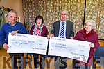 The Mid Kerry Vintage Rally committee present cheques to the Castlemaine Community Services and St Josephs Home at the Castlemaine Community centre on Tuesday night.<br /> L-r, Brendan Dennehy (Mid Kerry Vintage Rally), Marie O&rsquo;Sullivan (Castlemaine Community Services), Denis Tagney (Mid Kerry Vintage Society), Sr Helena (St Joseph's Home).