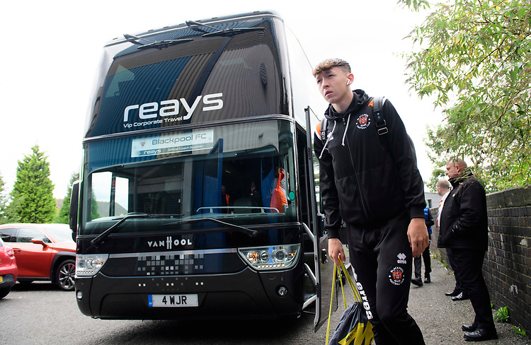 Blackpool's Nathan Shaw gets off the team bus after arriving at the ground<br /> <br /> Photographer Chris Vaughan/CameraSport<br /> <br /> The EFL Sky Bet League One - Coventry City v Blackpool - Saturday 7th September 2019 - St Andrew's - Birmingham<br /> <br /> World Copyright © 2019 CameraSport. All rights reserved. 43 Linden Ave. Countesthorpe. Leicester. England. LE8 5PG - Tel: +44 (0) 116 277 4147 - admin@camerasport.com - www.camerasport.com