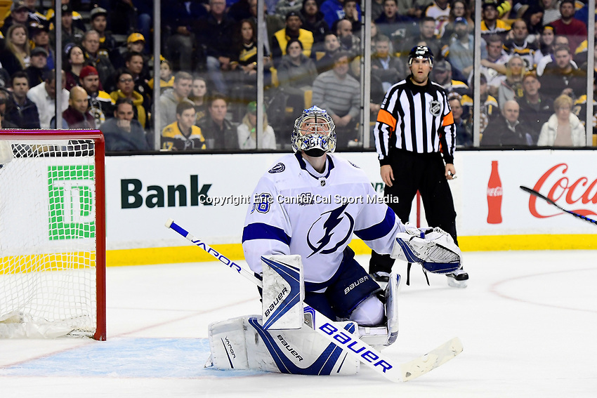 March 29, 2018: Tampa Bay Lightning goaltender Andrei Vasilevskiy (88) watches the flight of the puck during the NHL game between the Tampa Bay Lightning and the Boston Bruins held at TD Garden, in Boston, Mass. Boston defeats Tampa Bay 4-2. Eric Canha/CSM