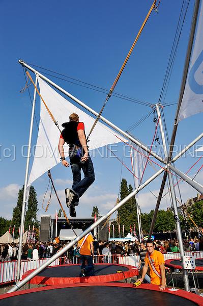 Gazet Van Antwerpen benji construction at the Studay festival in Antwerp (Belgium, 25/09/2008)