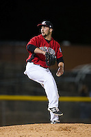 Hickory Crawdads relief pitcher Kevin Matthews (21) in action against the Kannapolis Intimidators at L.P. Frans Stadium on April 23, 2015 in Hickory, North Carolina.  The Crawdads defeated the Intimidators 3-2 in 10 innings.  (Brian Westerholt/Four Seam Images)