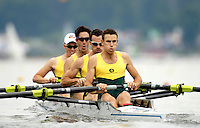 """Poznan, POLAND.  2006, FISA, Rowing, World Cup,  AUS  LM4- bow  Tim O""""CALLAGHAN,  Michael  MCBRYDE, Ben CURETON, Todd SKIPWORTH, move  away from  the  start, on the Malta  Lake. Regatta Course, Poznan, Thurs. 15.05.2006. © Peter Spurrier   ...[Mandatory Credit Peter Spurrier/ Intersport Images] Rowing Course:Malta Rowing Course, Poznan, POLAND"""