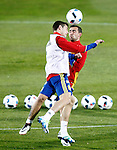 Spain's Cesar Azpilicueta (l) and Paco Alcacer during training session. March 21,2016. (ALTERPHOTOS/Acero)