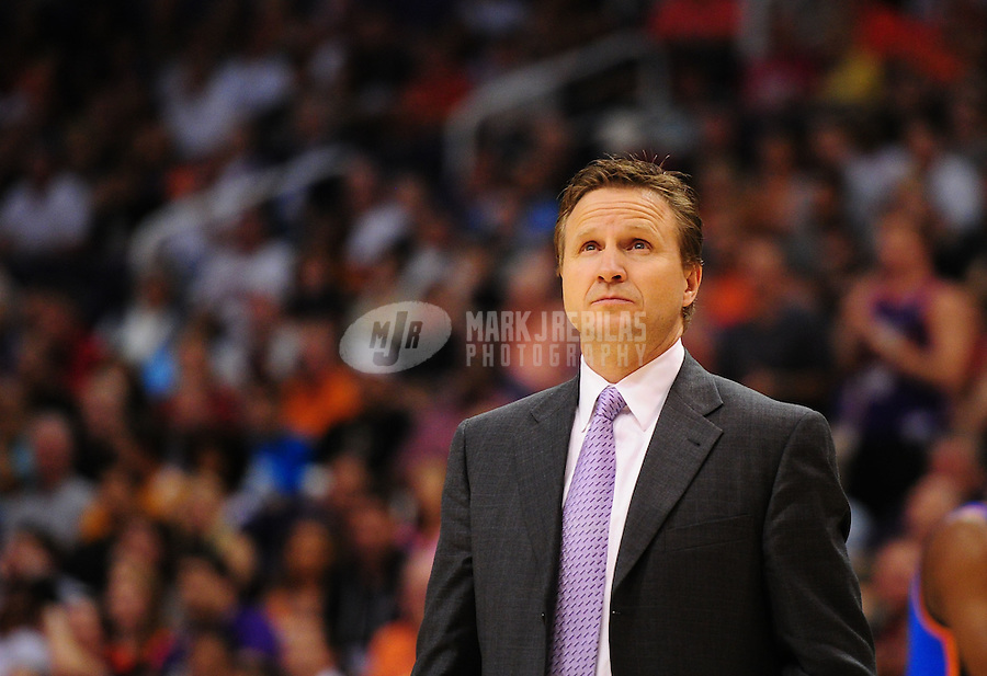 Mar. 30, 2011; Phoenix, AZ, USA; Oklahoma City Thunder head coach Scott Brooks in the first half against the Phoenix Suns at the US Airways Center. The Thunder defeated the Suns 116-98. Mandatory Credit: Mark J. Rebilas-