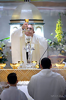 Pope Francis visits the Roman parish of Santissimo Sacramento in the Rome  suburb Torre dei Schiavi, for a pastoral visit on May 6, 2018