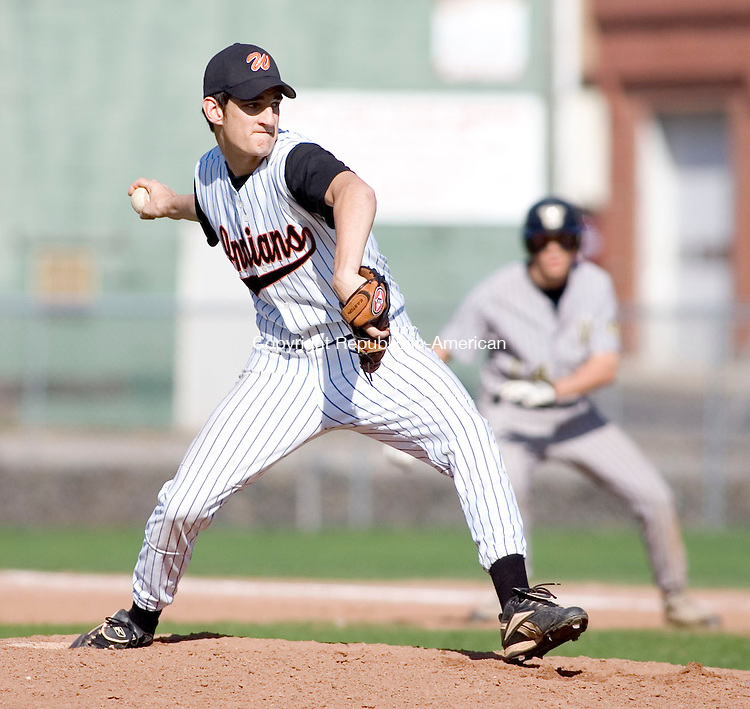 WATERTOWN, CT- 30 APRIL 07- 043007JT14-<br /> Watertown pitcher #6 during Monday's game at Deland Field against Woodland in Watertown. Woodland won 7-3.<br /> Josalee Thrift Republican-American