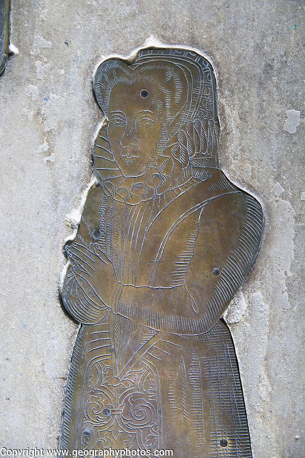 Tudor brass memorials wife of Edward Duke family, 1593, St Mary parish church, Benhall, Suffolk, England, UK