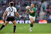 Ian Madigan of Ireland in possession. Rugby World Cup Pool D match between Ireland and Romania on September 27, 2015 at Wembley Stadium in London, England. Photo by: Patrick Khachfe / Onside Images
