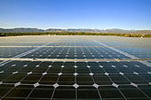 Array on rooftop  of office building in Panorama City, Installation by Martifer Solar USA, San Fernando Valley, Los Angeles, California, USA