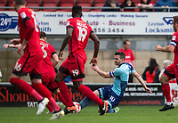 Matt Bloomfield of Wycombe Wanderers hits a shot at goal during the Sky Bet League 2 match between Leyton Orient and Wycombe Wanderers at the Matchroom Stadium, London, England on 1 April 2017. Photo by Andy Rowland.
