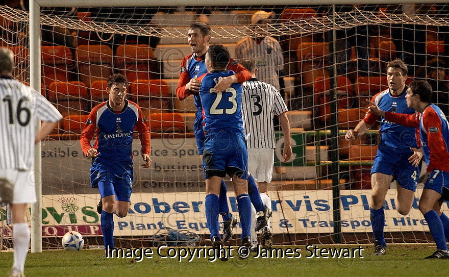 08/02/2006         Copyright Pic: James Stewart.File Name : sct_jspa08_dunfermline_v_ict.DENNIS WYNESS CELEBRATES SCORING THE EQUALISER.Payments to :.James Stewart Photo Agency 19 Carronlea Drive, Falkirk. FK2 8DN      Vat Reg No. 607 6932 25.Office     : +44 (0)1324 570906     .Mobile   : +44 (0)7721 416997.Fax         : +44 (0)1324 570906.E-mail  :  jim@jspa.co.uk.If you require further information then contact Jim Stewart on any of the numbers above.........