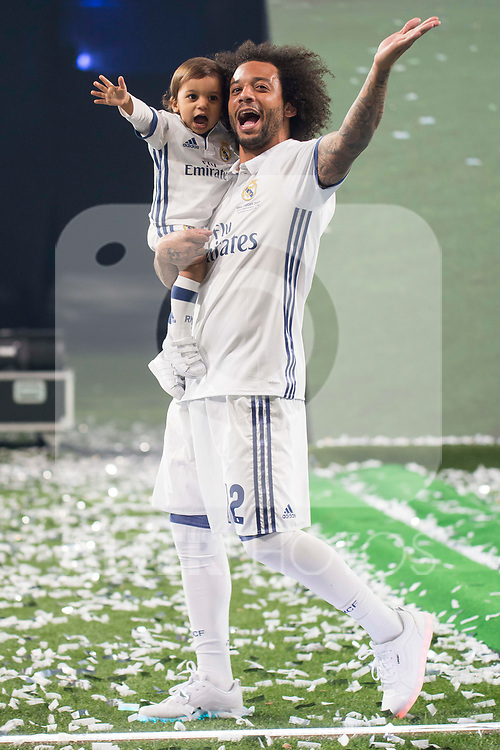 Real Madrid Marcelo with his son during the celebration of the 13th UEFA Championship at Santiago Bernabeu Stadium in Madrid, June 04, 2017. Spain.<br /> (ALTERPHOTOS/BorjaB.Hojas)