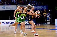 Magic&rsquo;s Lisa Mather and Pulse&rsquo; Renee Savai&rsquo;inaea in action during the ANZ Premiership - Pulse v Magic at TSB Bank Arena, Wellington, New Zealand on Sunday 21 April 2019. <br /> Photo by Masanori Udagawa. <br /> www.photowellington.photoshelter.com