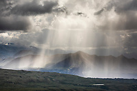 Rain squall and virga over the Alaska Range mountains, Denali National Park, Alaska