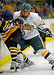 16 November 2008: University of Vermont Catamount defenseman Drew MacKenzie, a Freshman from New Canaan, CT, in action against the visiting Merrimack College Warriors at Gutterson Fieldhouse, in Burlington, Vermont. The Catamounts defeated the Warriors 2-1 in front of a near-capacity crowd of 3,813...Mandatory Photo Credit: Ed Wolfstein Photo