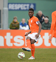 20150314 - GENDT , NETHERLANDS  : Dutch Timothy Fosu-Mensah pictured during the soccer match between Under 17 teams of  The Netherlands and Northern Ireland , on the second matchday in group 3 of the UEFA Elite Round Under 17 at De Bataven Stadion , Gendt , The Netherlands . Saturday  14 th March 2015 . PHOTO DAVID CATRY