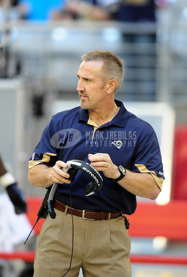 Dec. 5, 2010; Glendale, AZ, USA; St. Louis Rams head coach Steve Spangnuolo against the Arizona Cardinals at University of Phoenix Stadium. Mandatory Credit: Mark J. Rebilas-