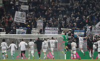 Juventus' players celebrate at the end of the Italian Serie A football match between Juventus and Roma at Juventus Stadium. Juventus won 1-0.