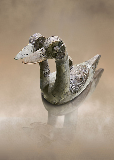 Hittite terra cotta ritual vessel in the shape of a duck with two heads - 16th century BC - Hattusa ( Bogazkoy ) - Museum of Anatolian Civilisations, Ankara, Turkey