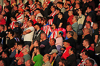 Lincoln City fans watch their team in action<br /> <br /> Photographer Andrew Vaughan/CameraSport<br /> <br /> The EFL Sky Bet League Two Play Off Second Leg - Exeter City v Lincoln City - Thursday 17th May 2018 - St James Park - Exeter<br /> <br /> World Copyright &copy; 2018 CameraSport. All rights reserved. 43 Linden Ave. Countesthorpe. Leicester. England. LE8 5PG - Tel: +44 (0) 116 277 4147 - admin@camerasport.com - www.camerasport.com