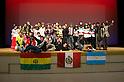 """Minamisanriku, Miyagi, Japan - The group of volunteers """"Todos con Japon"""" after the show for Japanese refugees at Sports Koryu Mura in Minamisanriku, one year after the tsunami. The Latin group of volunteers """"Todos con Japon"""" visits Miyagi area during this Golden Week."""