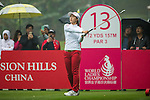 Bo Kyung Kim of South Korea tees off at the 13th hole during Round 4 of the World Ladies Championship 2016 on 13 March 2016 at Mission Hills Olazabal Golf Course in Dongguan, China. Photo by Victor Fraile / Power Sport Images