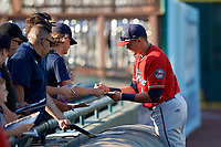 Fort Myers Miracle Trevor Larnach (9) signs autographs before a Florida State League game against the Bradenton Marauders on April 23, 2019 at LECOM Park in Bradenton, Florida.  Fort Myers defeated Bradenton 2-1.  (Mike Janes/Four Seam Images)