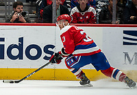 WASHINGTON, DC - JANUARY 31: Nick Jensen #3 of the Washington Capitals turns into the attack during a game between New York Islanders and Washington Capitals at Capital One Arena on January 31, 2020 in Washington, DC.