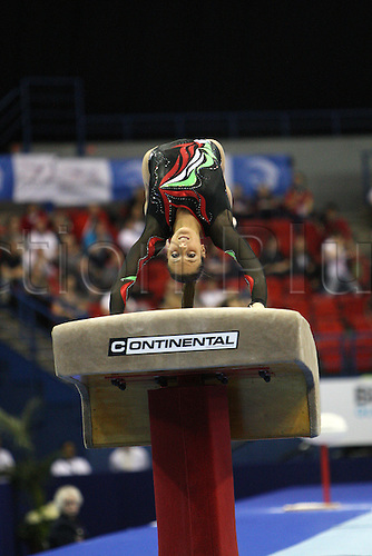 Federica Macri of Italy competes at the vault during the senior women  team finals at the European Artistic Gymnastics Championship at the National Indoor Arena in Birmingham, UK on May 1, 2010.