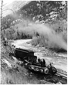 D&amp;RGW locomotive #171 on its side south of Rico, CO on the RGS.<br /> RGS  south of Rico, CO