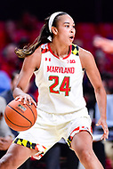 College Park, MD - NOV 29, 2017: Maryland Terrapins forward Stephanie Jones (24) handles the ball during ACC/Big Ten Challenge game between Gerogia Tech and the No. 7 ranked Maryland Terrapins. Maryland defeated The Yellow Jackets 67-54 at the XFINITY Center in College Park, MD.  (Photo by Phil Peters/Media Images International)